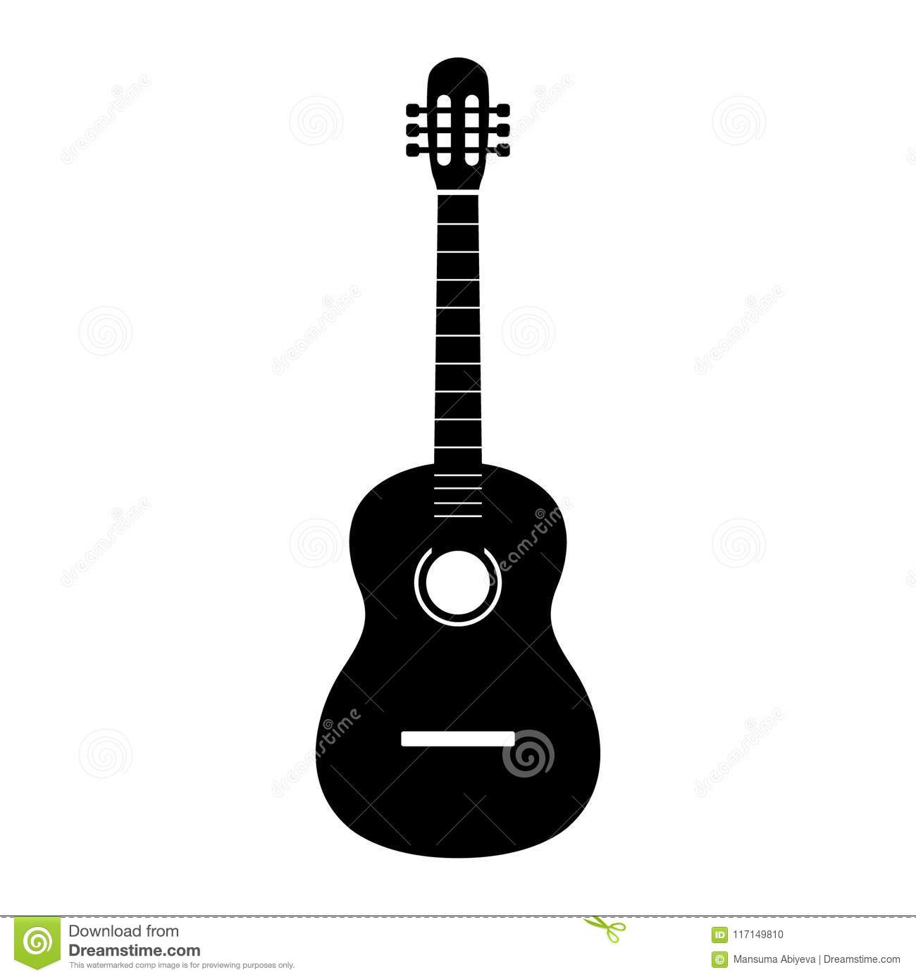 Guitar icon vector, Acoustic musical instrument sign Isolated on white background. Trendy Flat style for graphic design