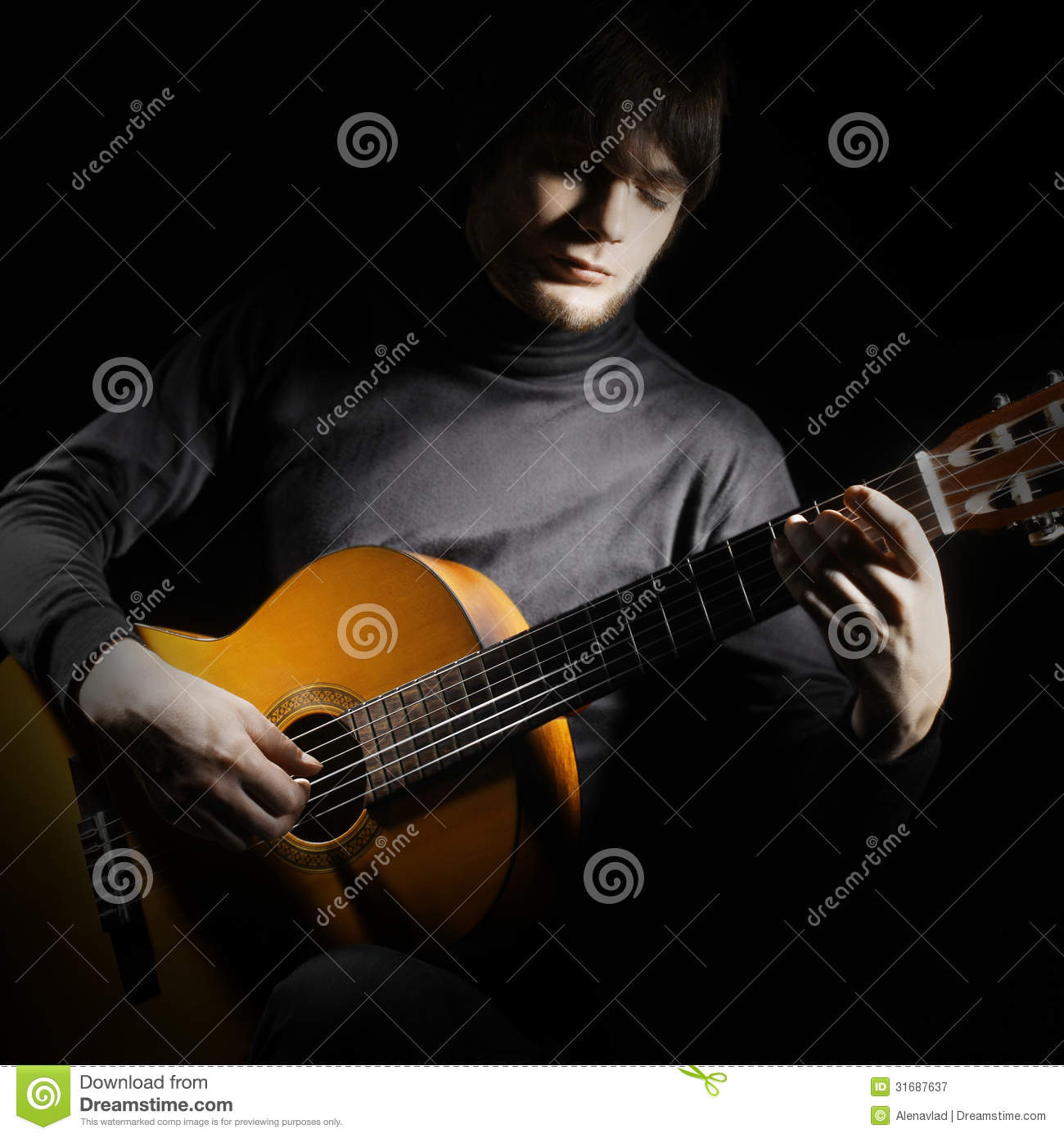 Guitar man. Acoustic guitarist classical musical instrument playing.