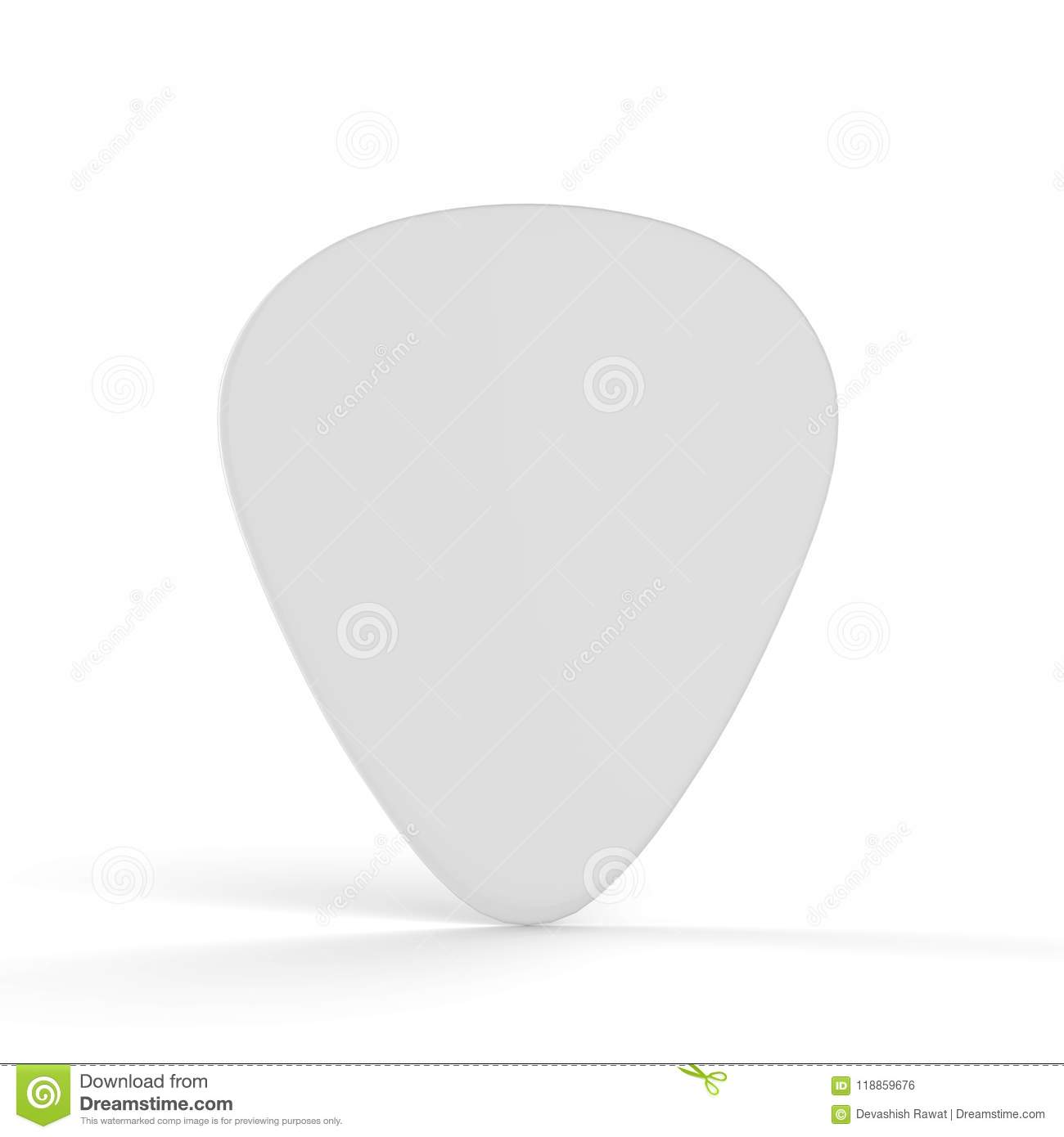 Guitar Pick Mock Up On Isolated White Background Stock Illustration