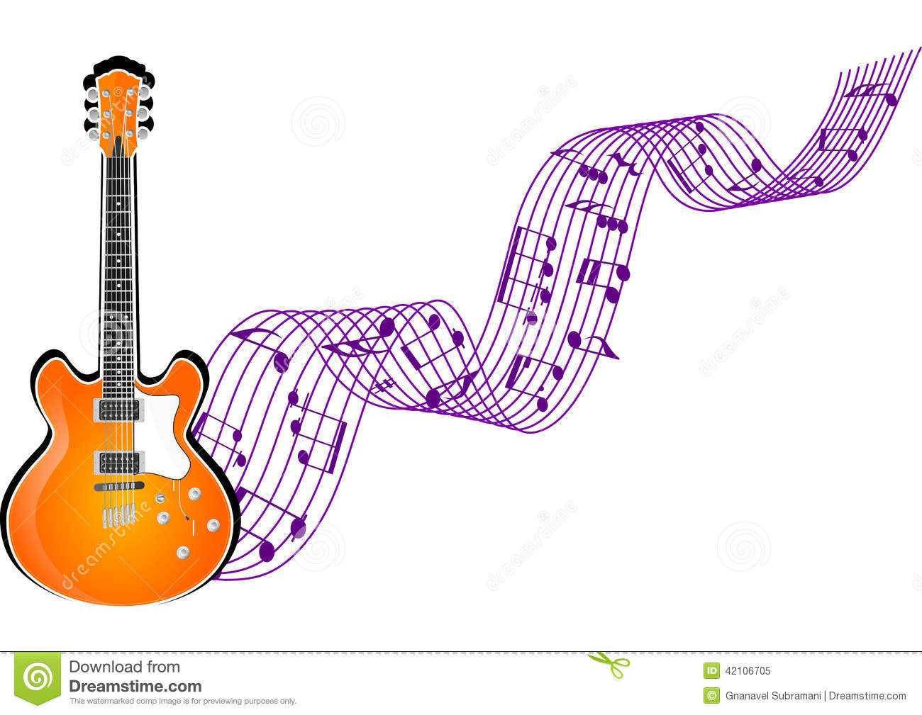 Guitar With Music Notes Stock Illustration - Image: 42106705