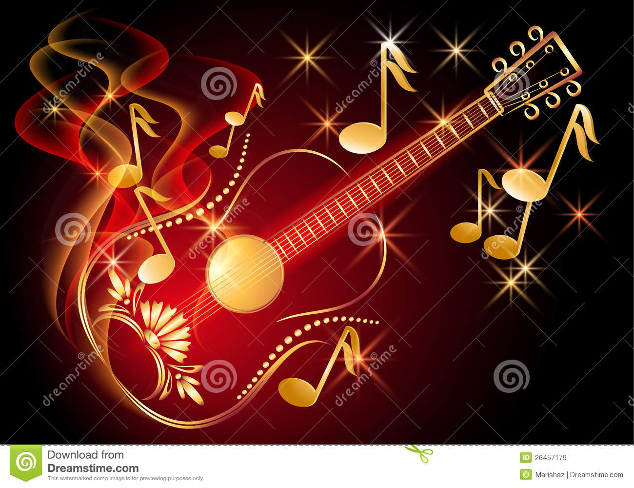 guitar and musical notes royalty free stock images image