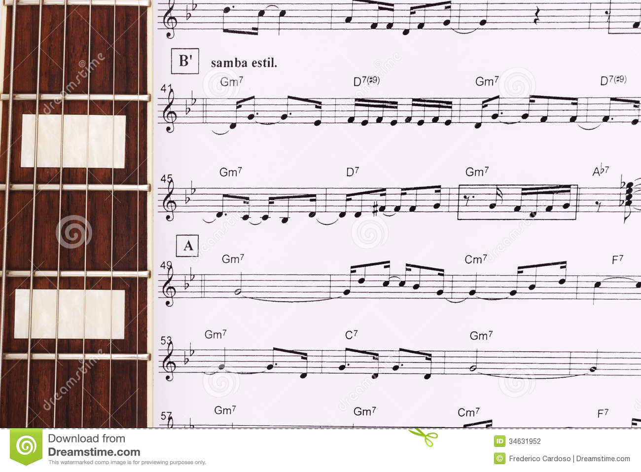 Guitar Neck Laying Across Sheet Music Stock Photo Image Of Chords