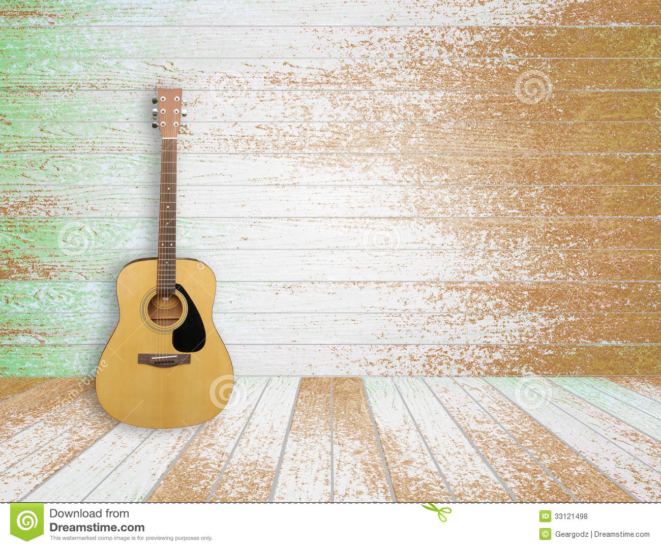 Guitar In Old Room Background Royalty Free Stock Photos