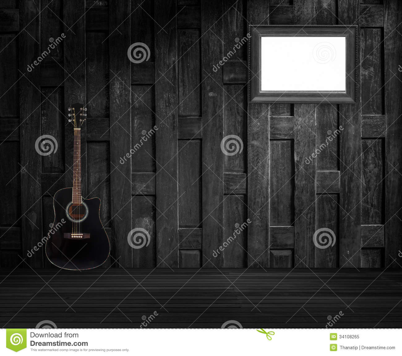 guitar and old wooden frame