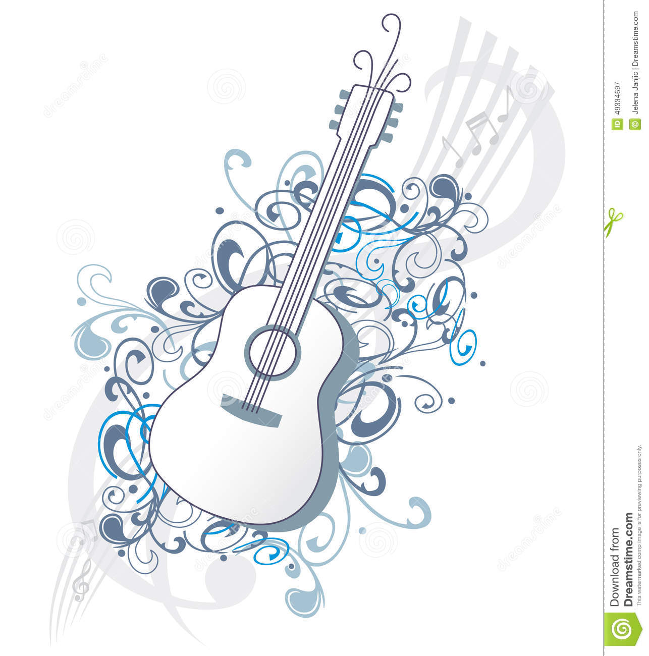 Contour Of Guitar With Music Notes On Blue Vector Background Stock