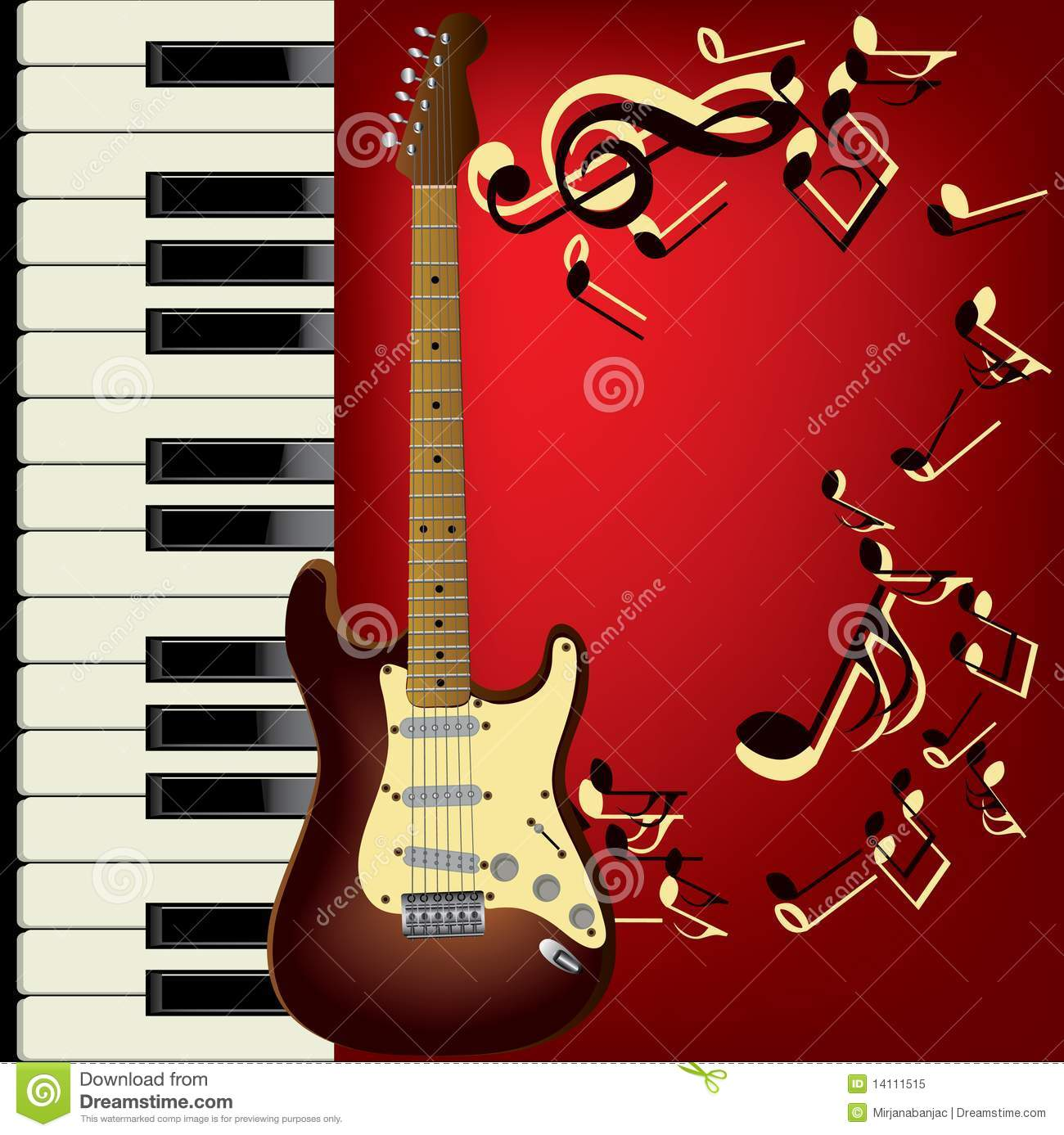 Guitar And Piano Stock Vector Illustration Of Musical