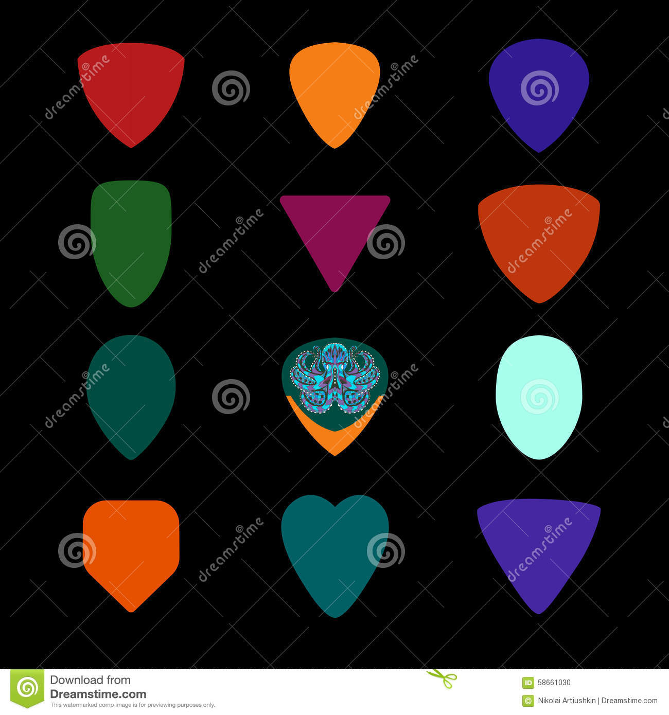 guitar picks different types of musical plectrum stock vector image 58661030. Black Bedroom Furniture Sets. Home Design Ideas