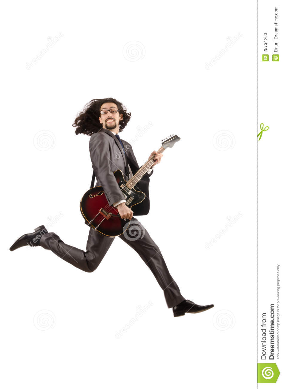 Guitar player in business suit