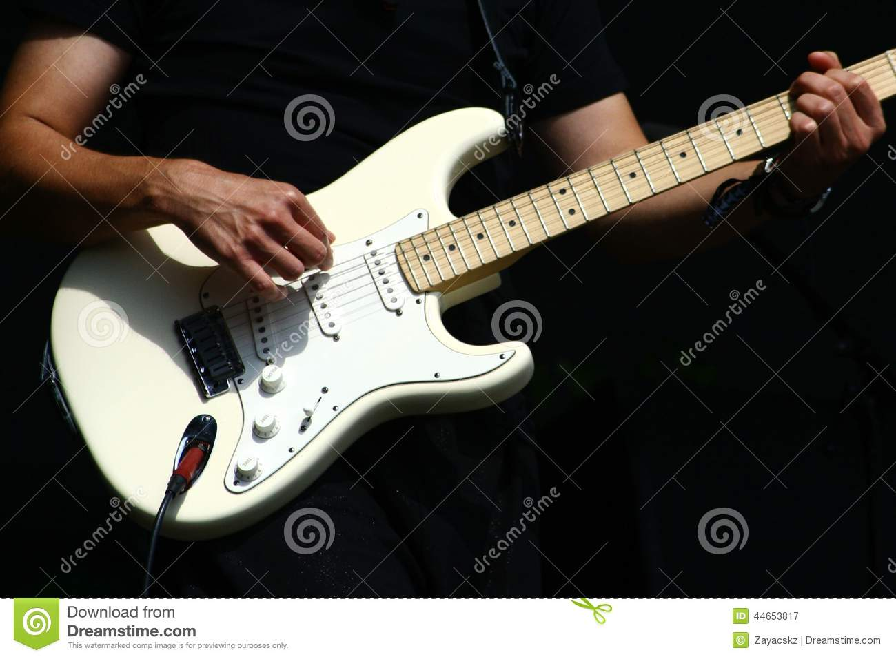 guitar player hands with electric stratocaster type guitar stock image image of drive chords. Black Bedroom Furniture Sets. Home Design Ideas