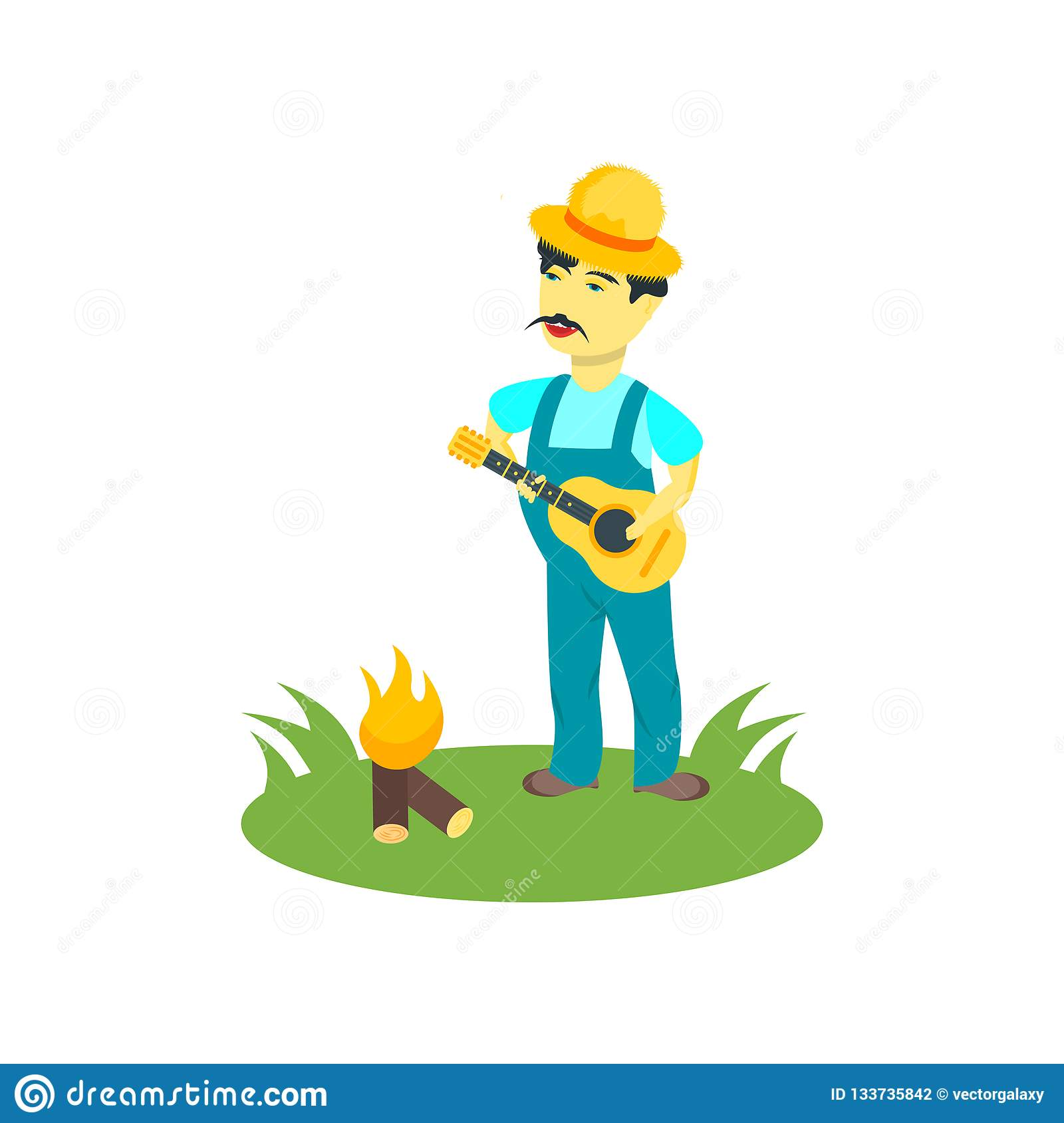 Guitar player icon vector sign and symbol isolated on white background, Guitar player logo concept