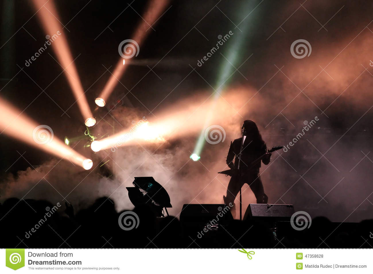 Guitar Player Silhouette On The Stage Editorial Stock ...
