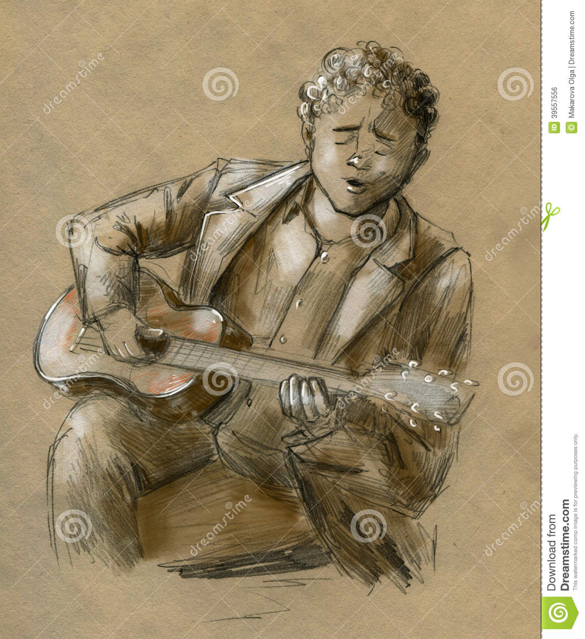 Young man with stylish vintage jacket and curly hair playing the guitar and singing some sad song hand drawn pencil sketch