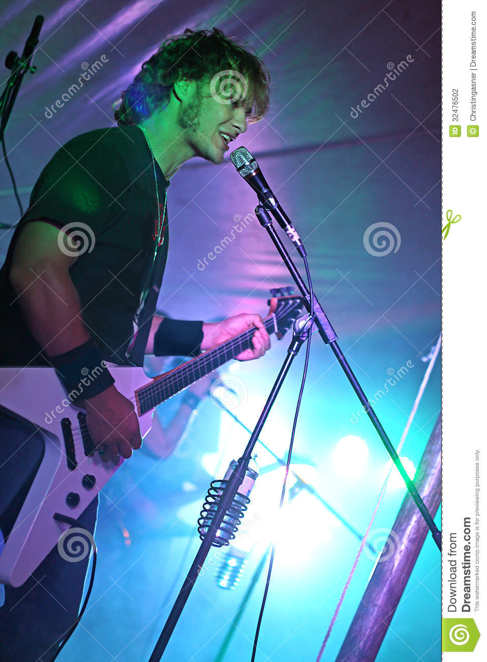 Guitar Player Singing Live in Concert
