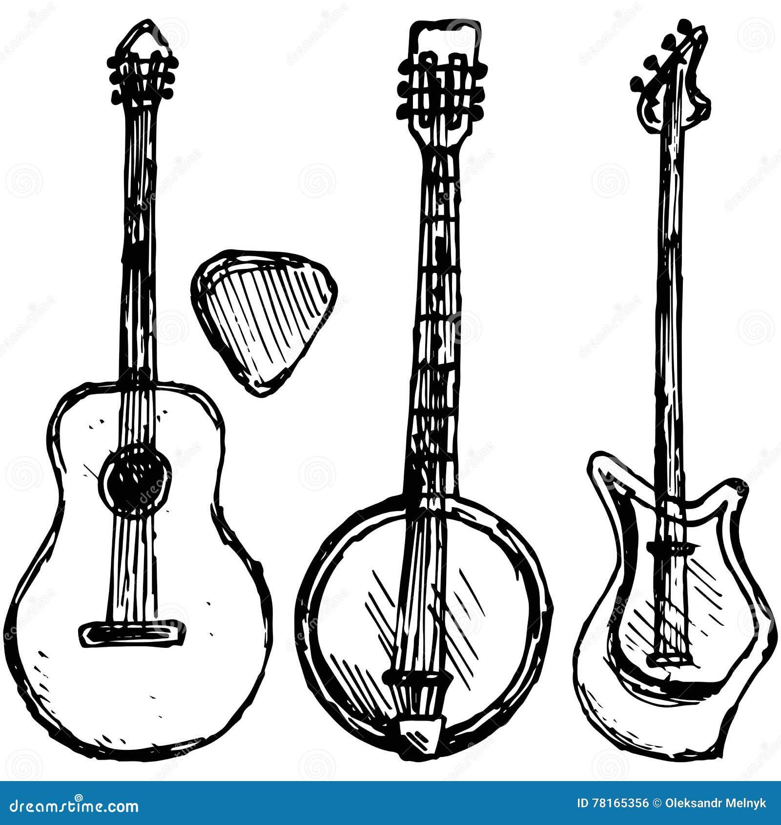 Guitar plectrum, guitar and banjo