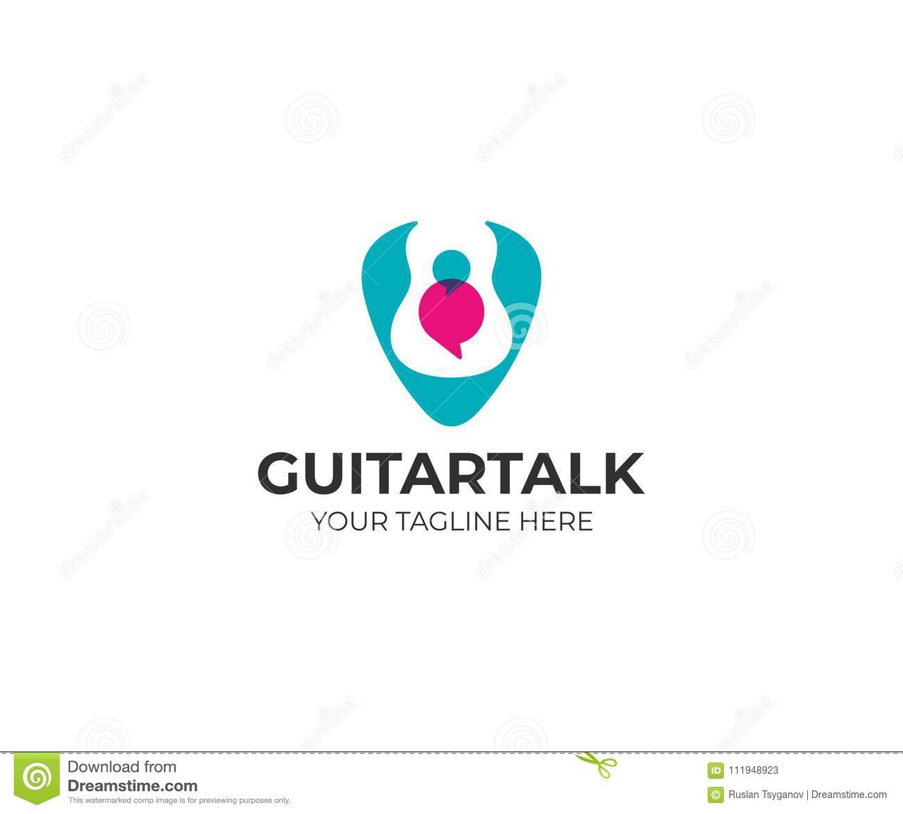 Guitar In Plectrum And Speech Bubbles Logo Template Guitar Pick