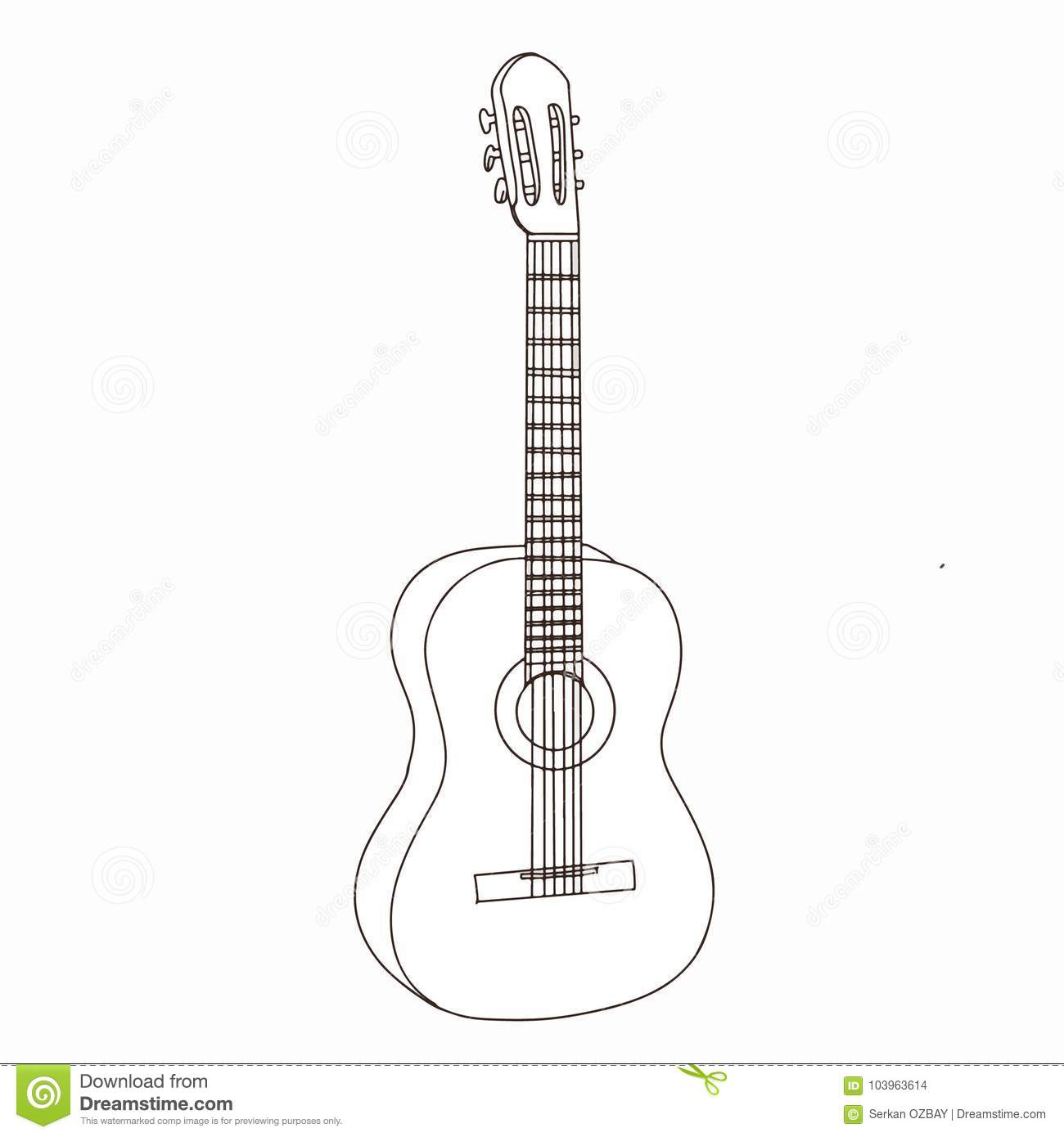 Guitar Realistic Cartoon Drawing And White Background Stock Illustration Illustration Of Musician Black 103963614