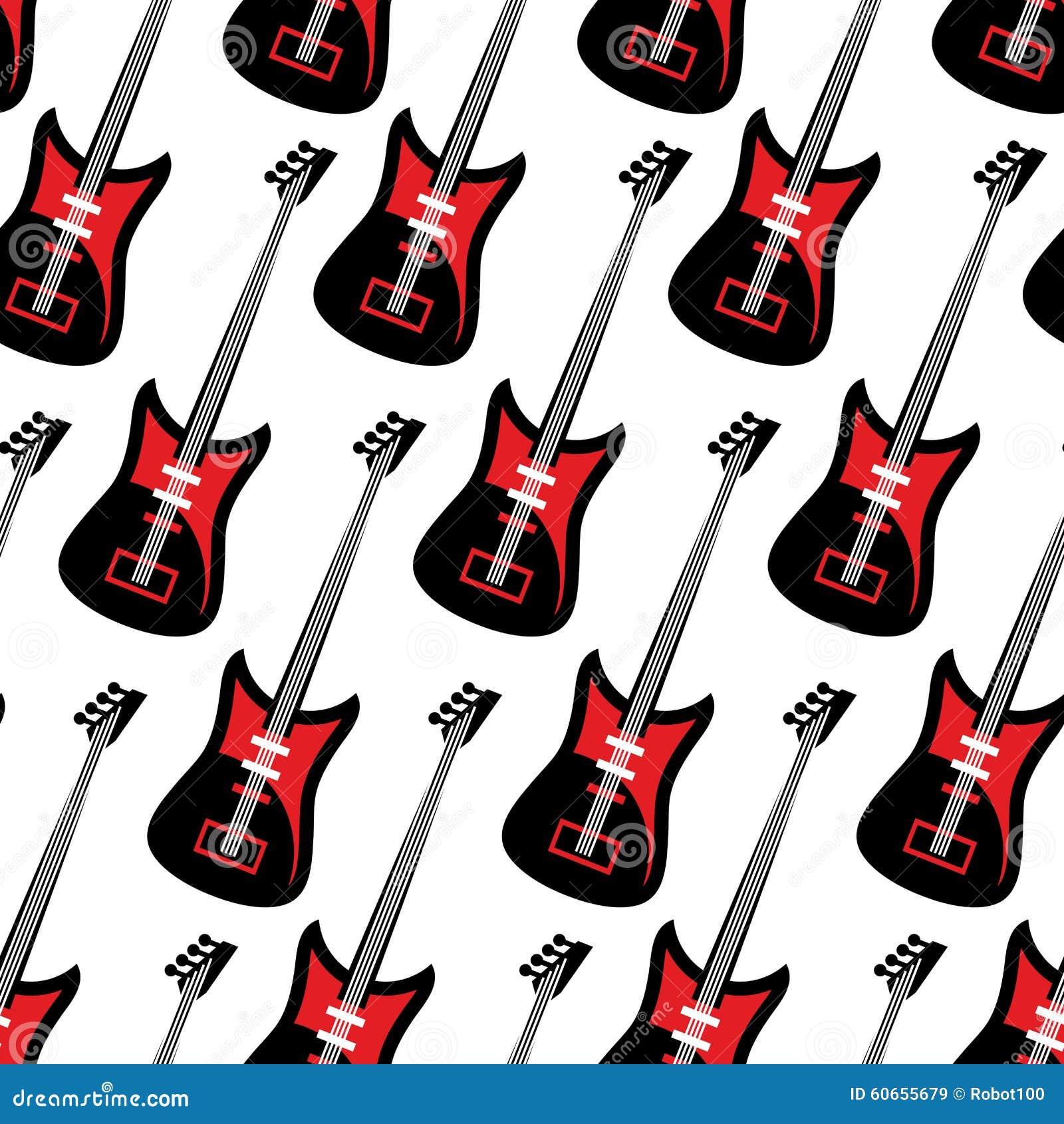 Guitar Seamless Pattern. Electric Guitar Repeating