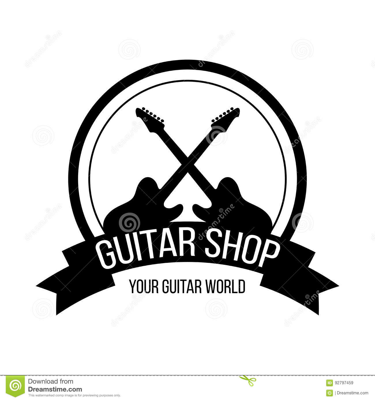 Guitar shop logo with crossing guitars