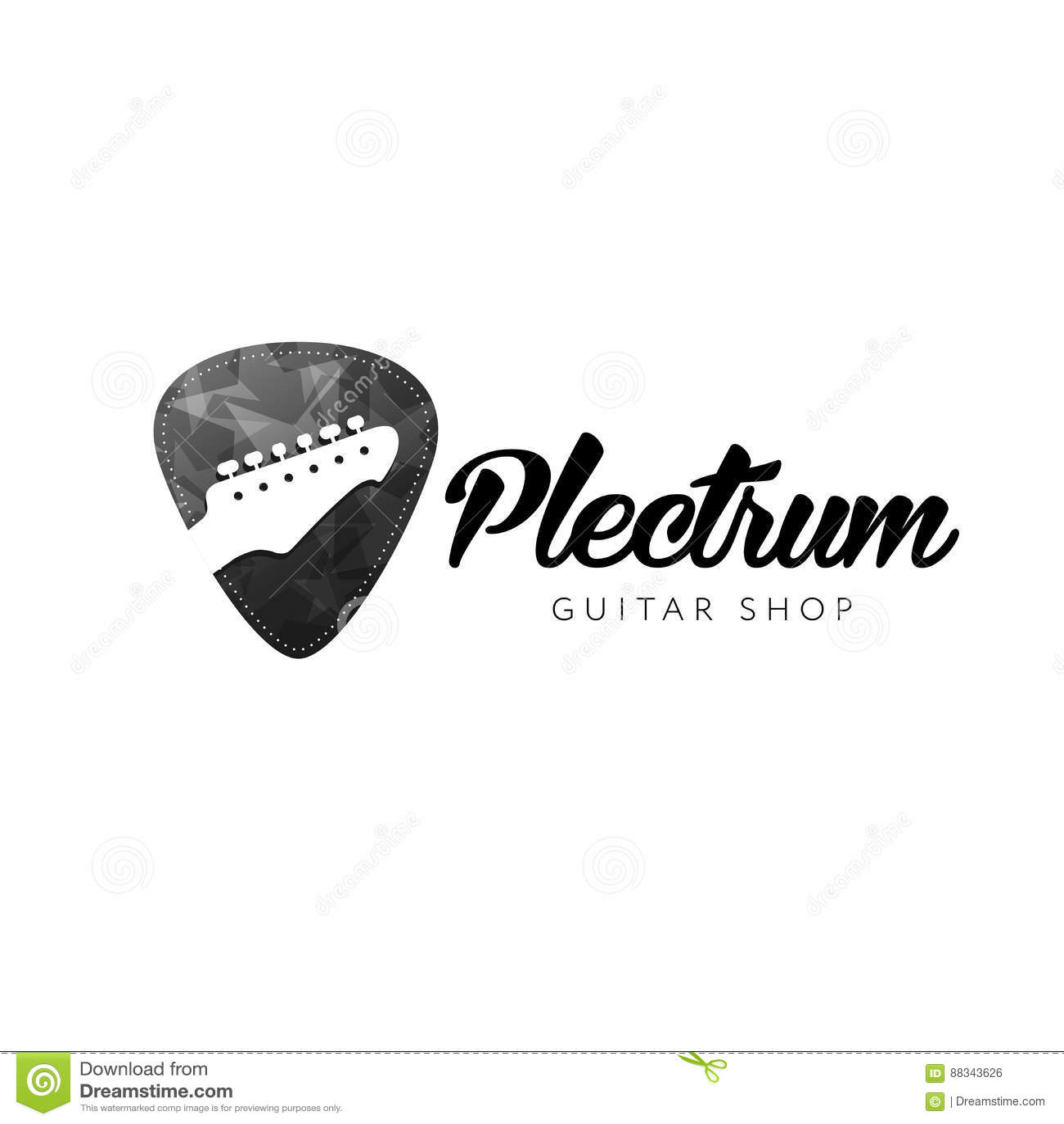 Guitar Shop Logo  Guitar Headstocks Isolated Plectrum Shape