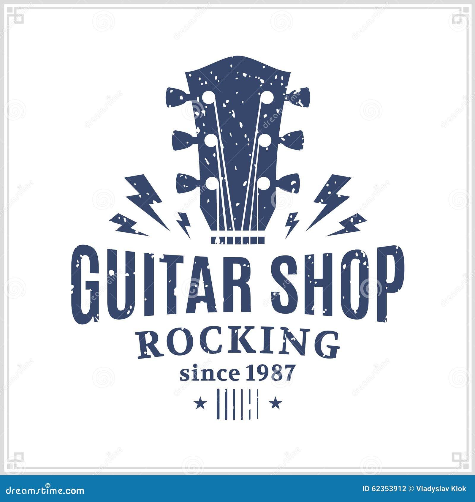 Guitar Shop Logo Stock Vector Illustration Of