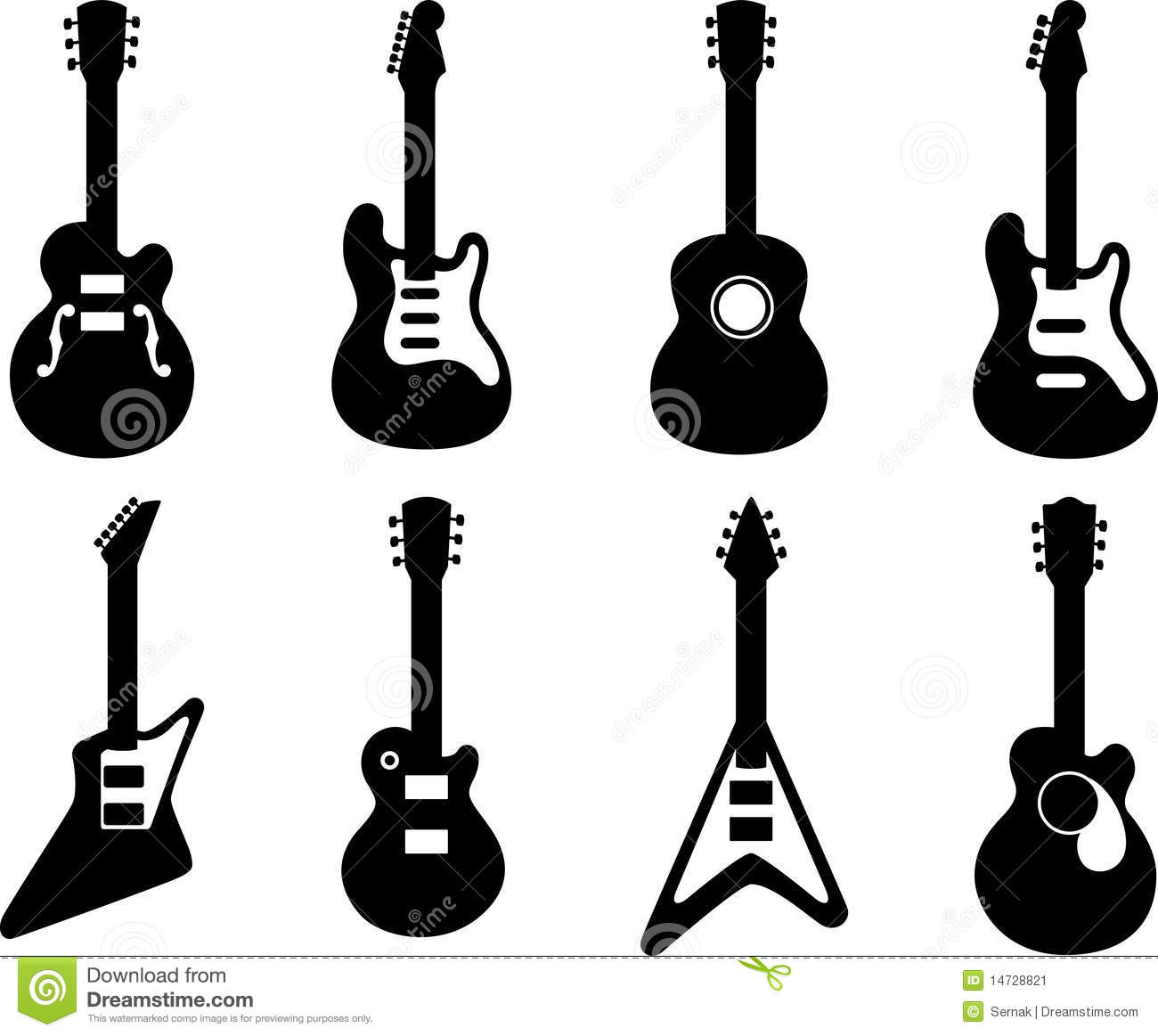 Vector illustration of 8 guitar silhouetteTo see the other guitar sets ...