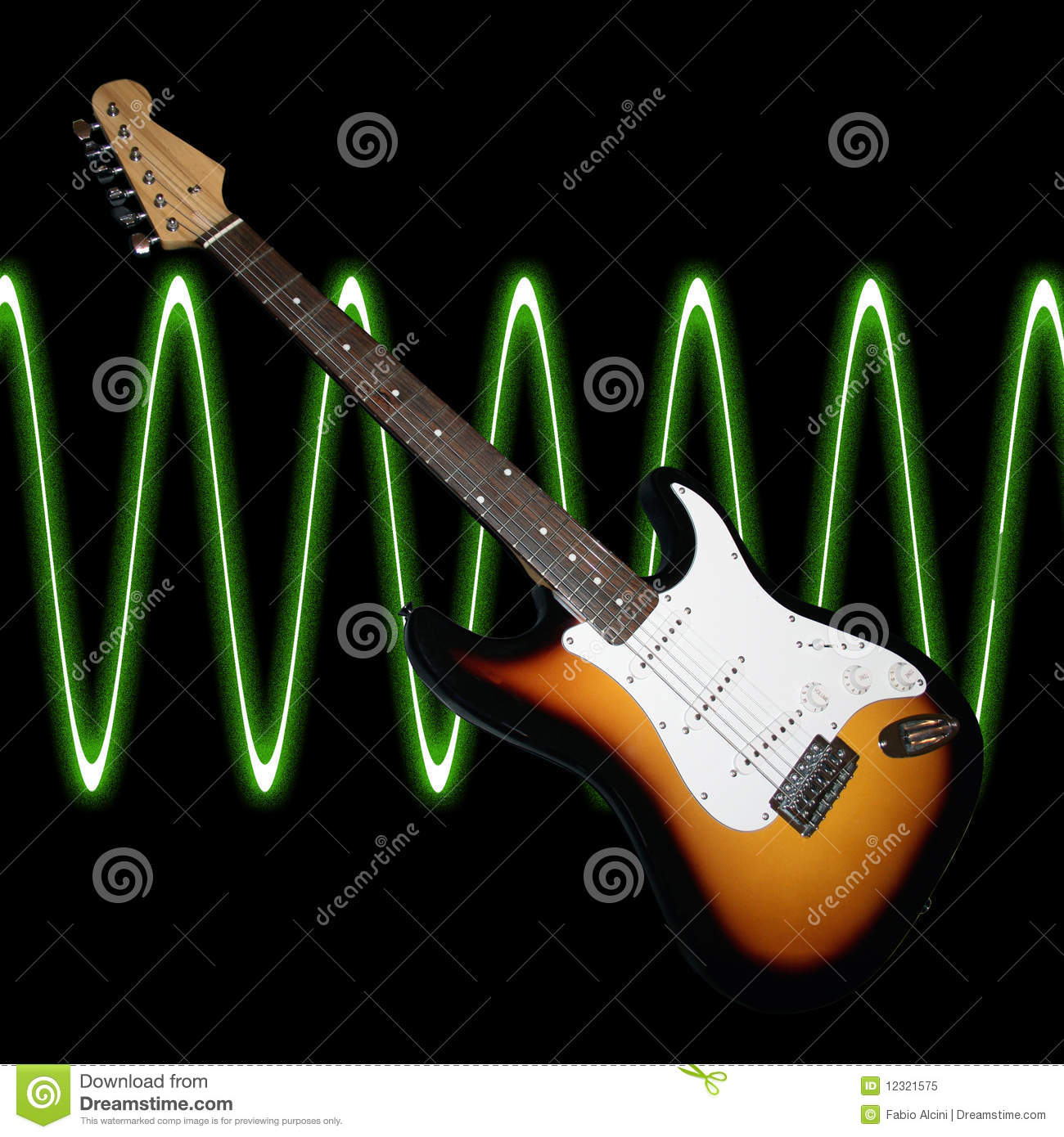 guitar with sound waves stock image image of loud electric 12321575. Black Bedroom Furniture Sets. Home Design Ideas