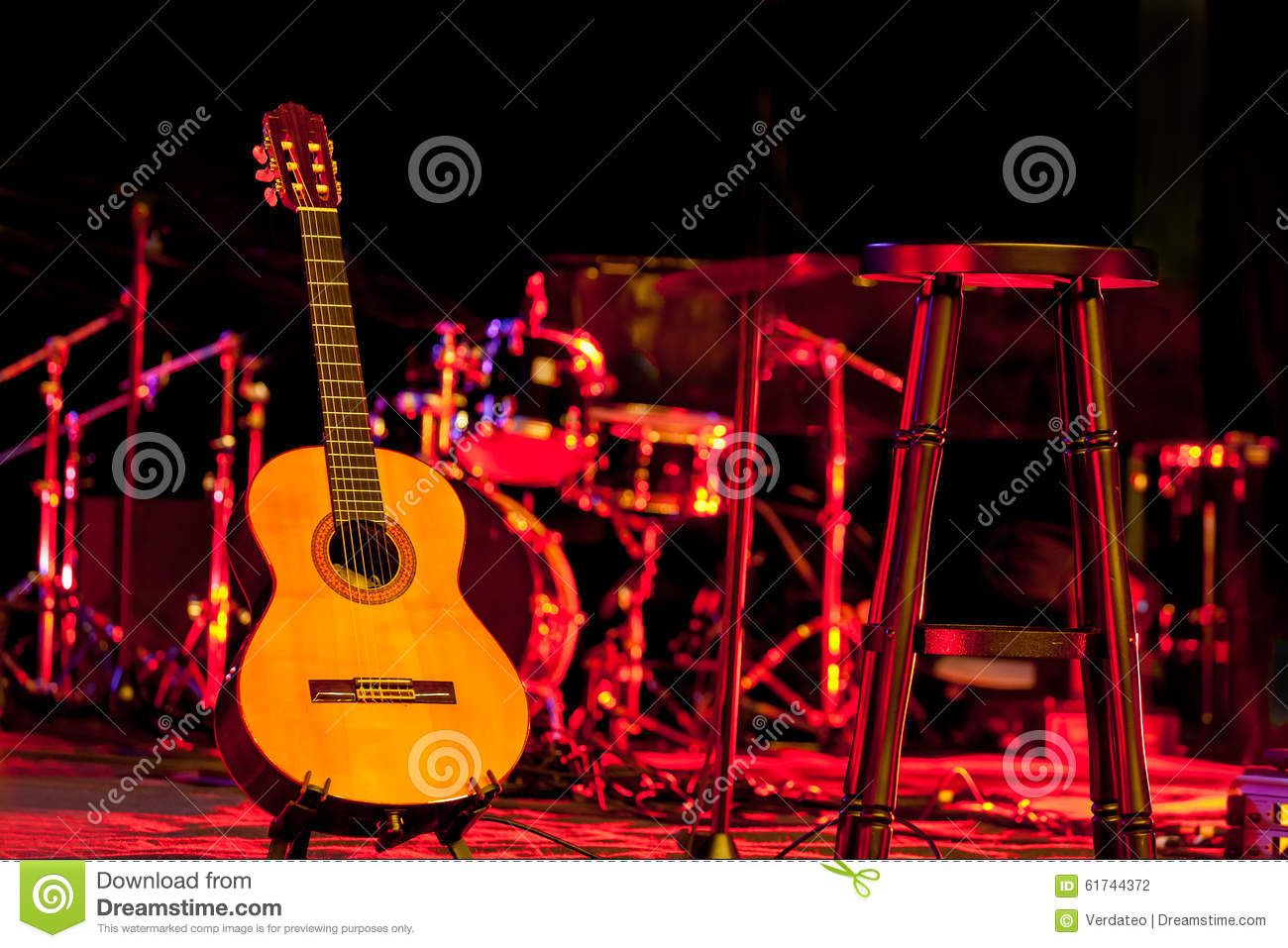 Guitar On Stage Stock Photo Image Of Classical Rock 61744372