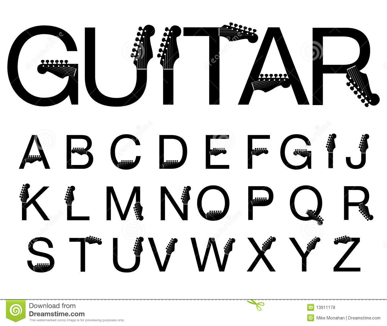 Guitar style typeface