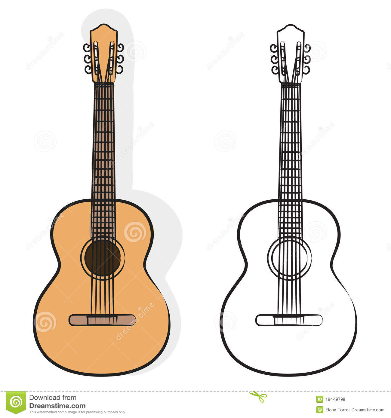 Illustrations of acoustic guitar isolated on white background + vector ...