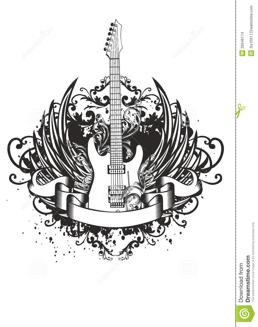Guitar with wings, patterns