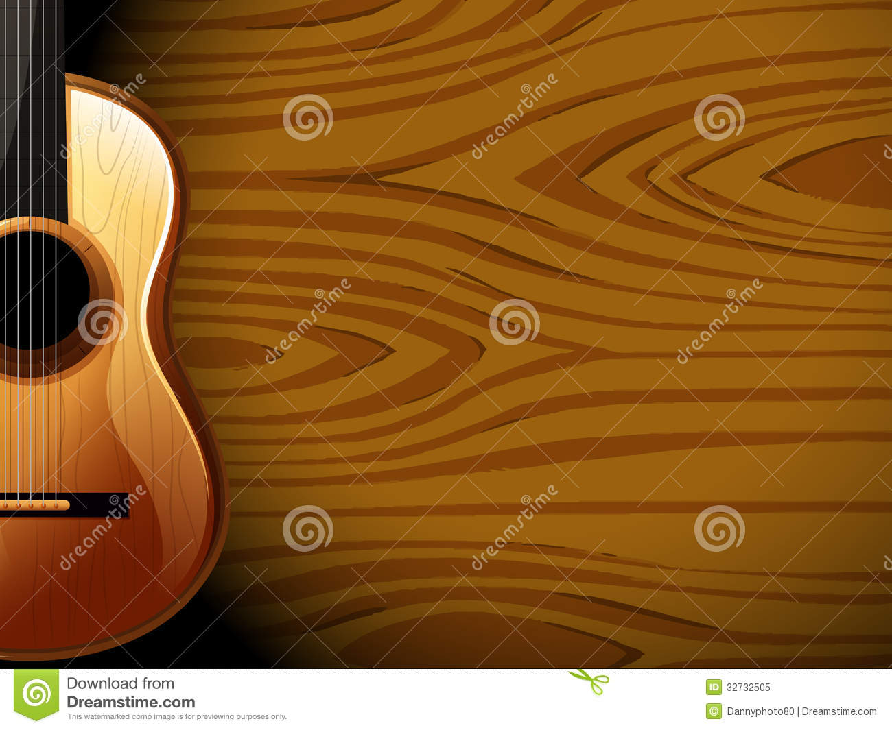 Royalty Free Stock Photo: A guitar beside a wood-colored wall