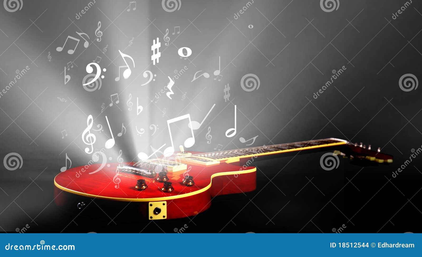 Guitare électrique avec la musique