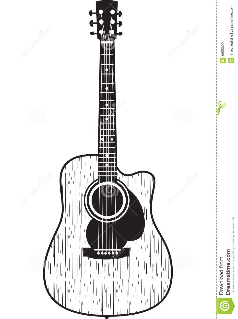 Guitare acoustique illustration de vecteur illustration - Coloriage guitare classique ...