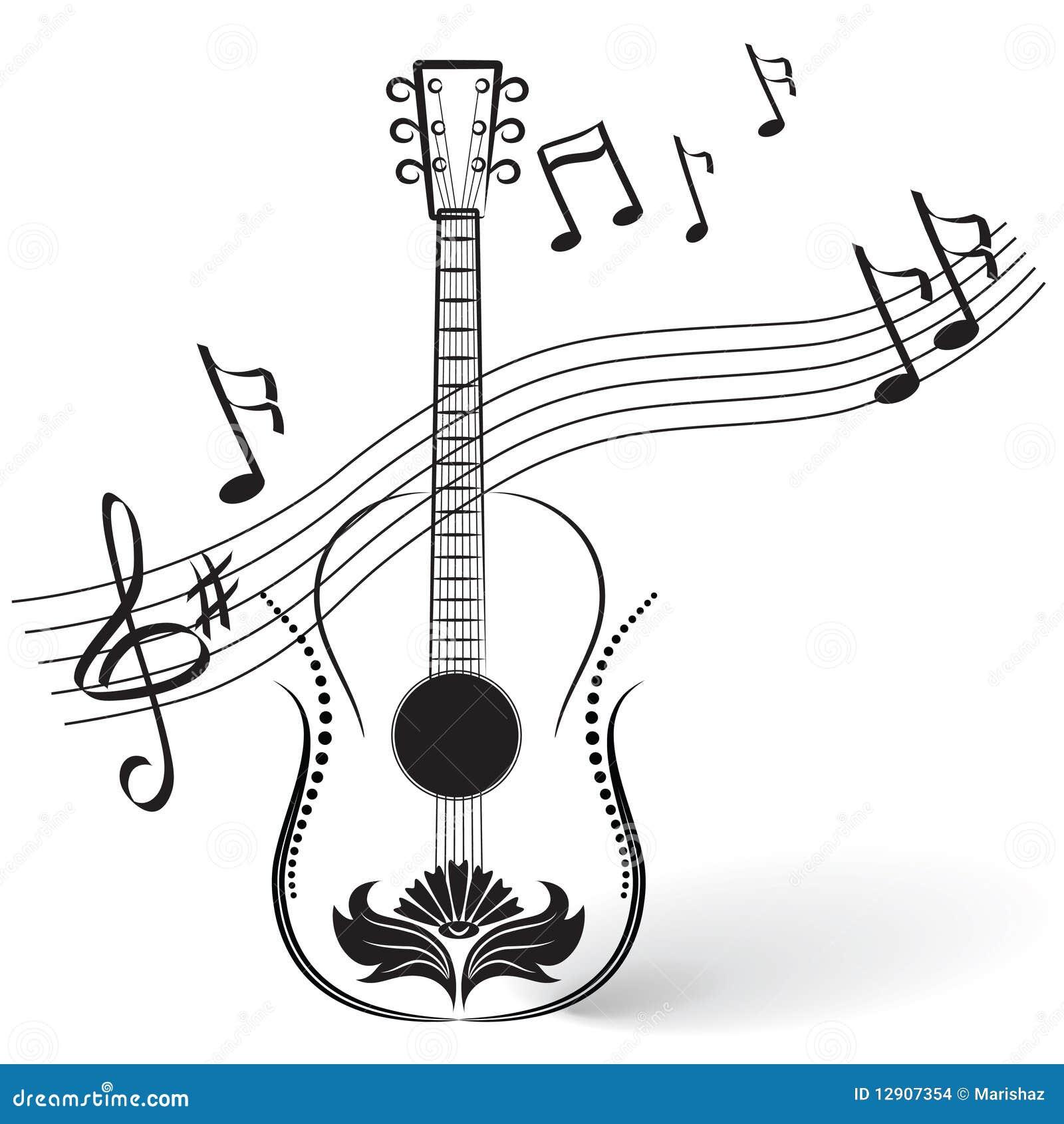 guitare et notes illustration de vecteur illustration du guitar vector free