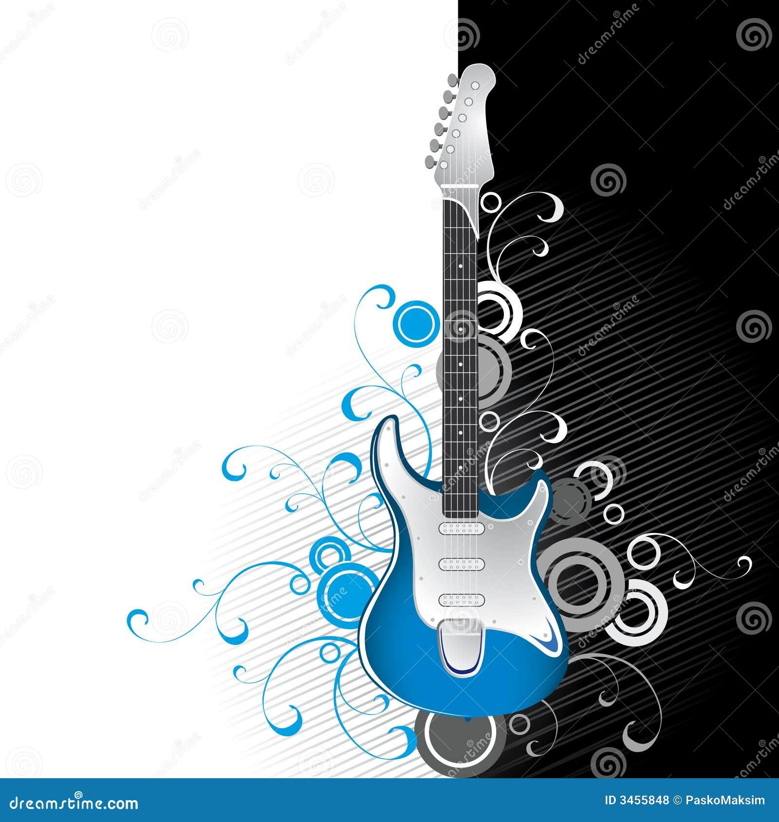 guitare sur noir et blanc illustration de vecteur illustration du couleurs 3455848. Black Bedroom Furniture Sets. Home Design Ideas