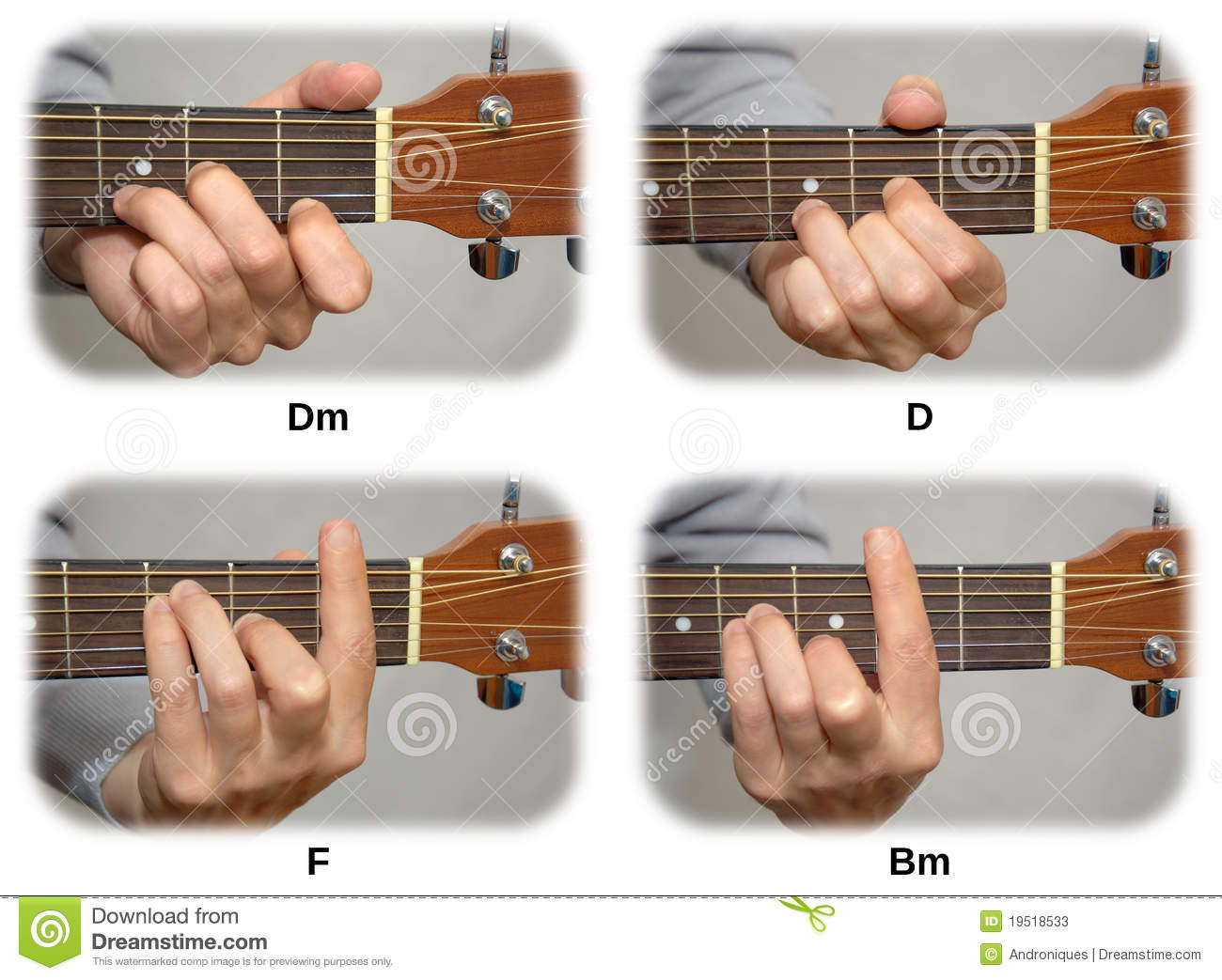 Guitarist Hand Playing Guitar Chords: Dm, D, F, Bm Stock Photos - Image: 19518533