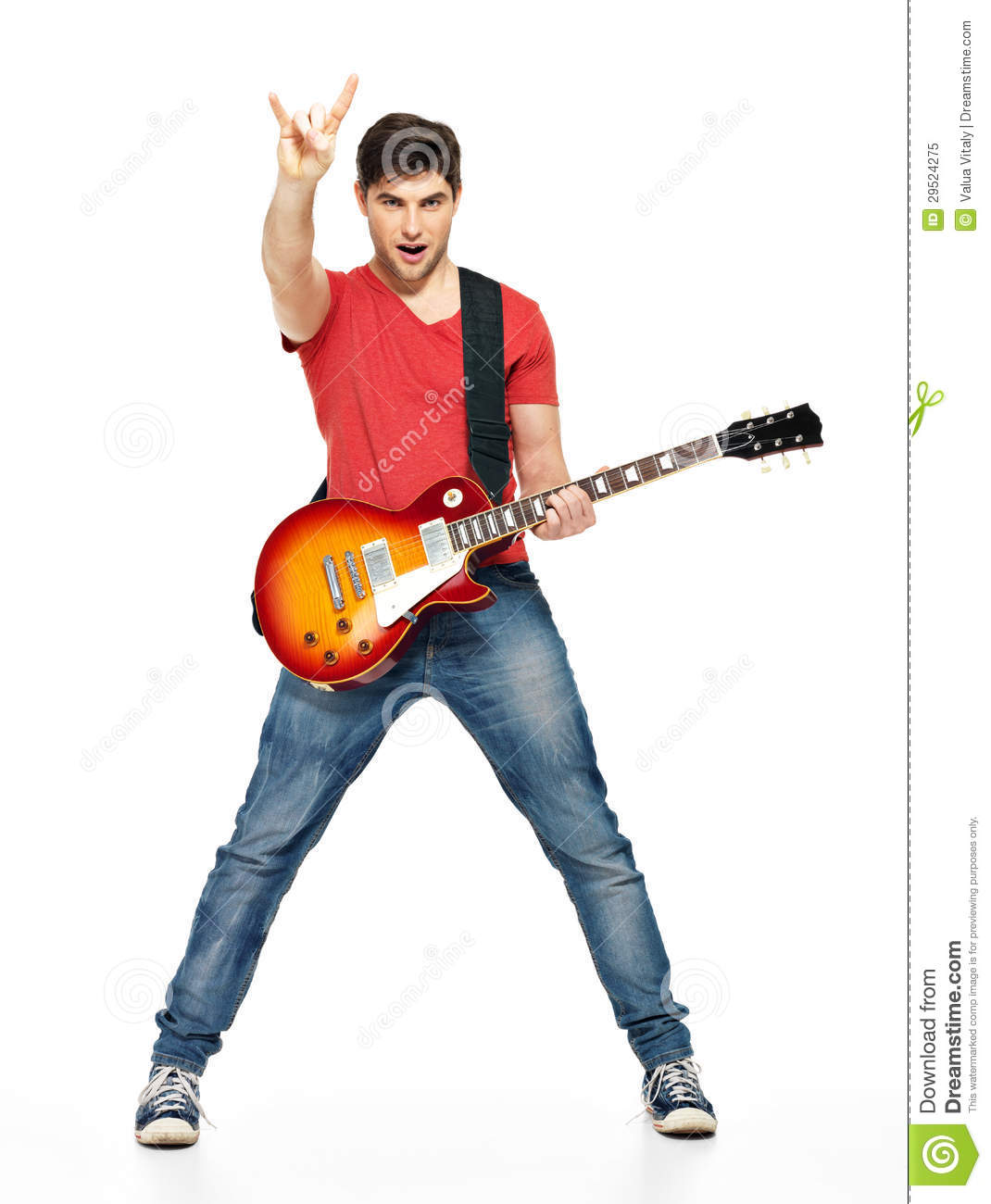 Guitarist Man Plays On The Electric Guitar Royalty Free Stock Photo ...