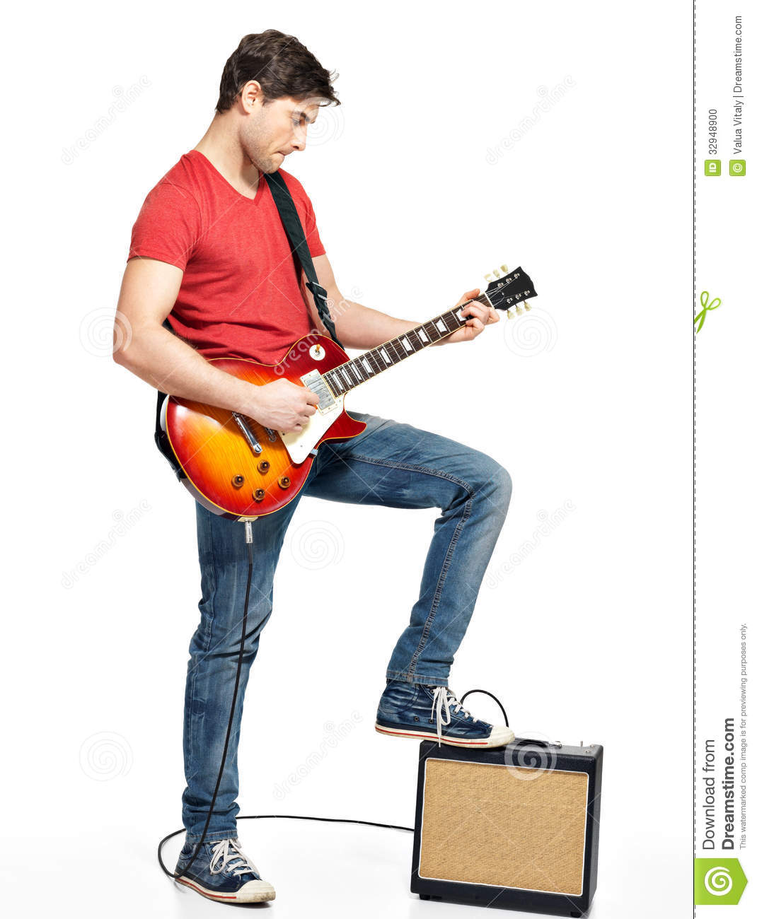 guitarist man plays on the electric guitar stock photo image of expression musician 32948900. Black Bedroom Furniture Sets. Home Design Ideas