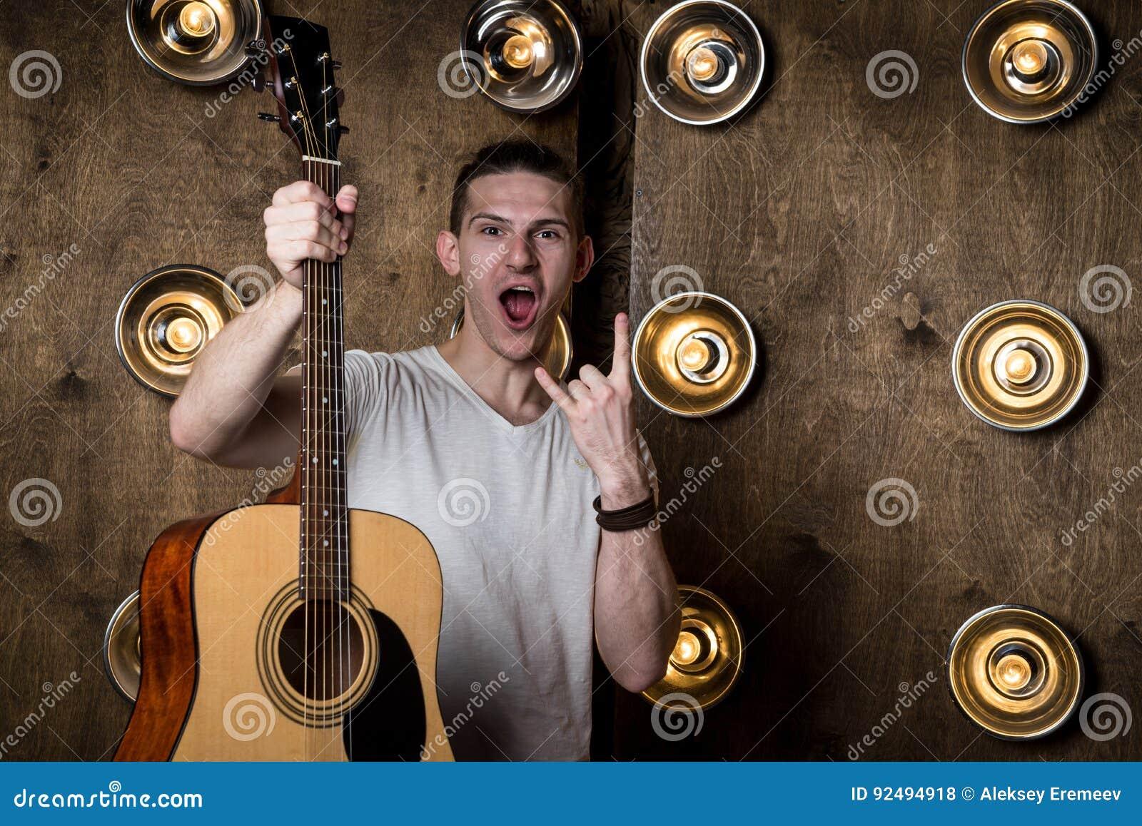 Guitarist Hand Playing Guitar Chords Am C Em E Royalty