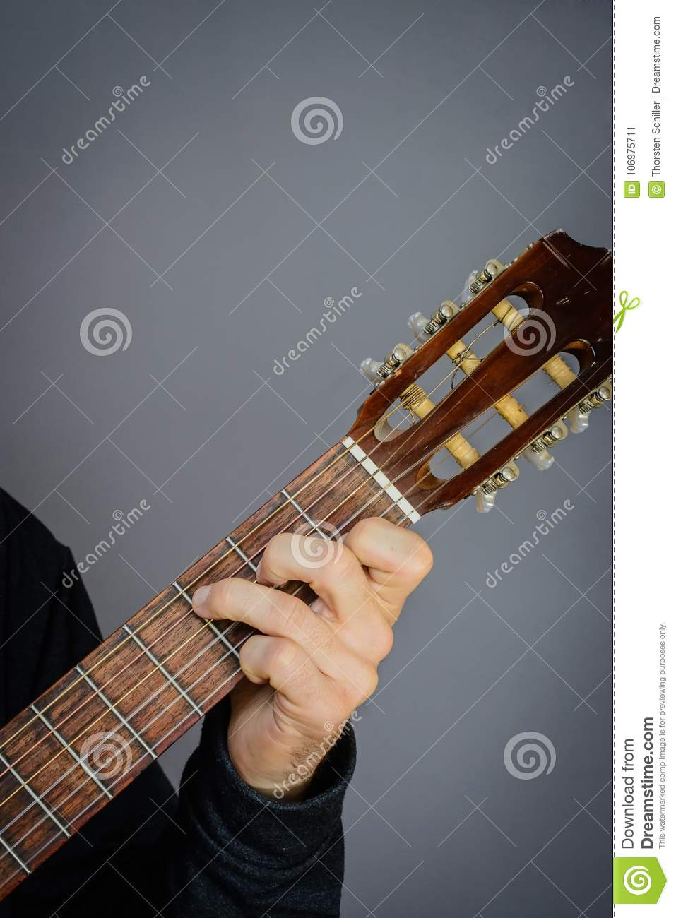 C Major Chord Played By Guitarist On Classical Acoustic Guitar Stock