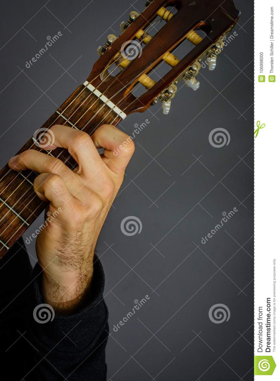 G Major Chord Played By Guitarist On Classical Acoustic Guitar Stock