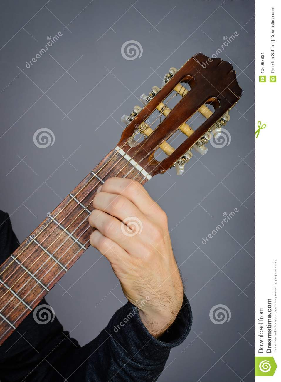 A Major Chord Played By Guitarist On Classical Acoustic Guitar Stock