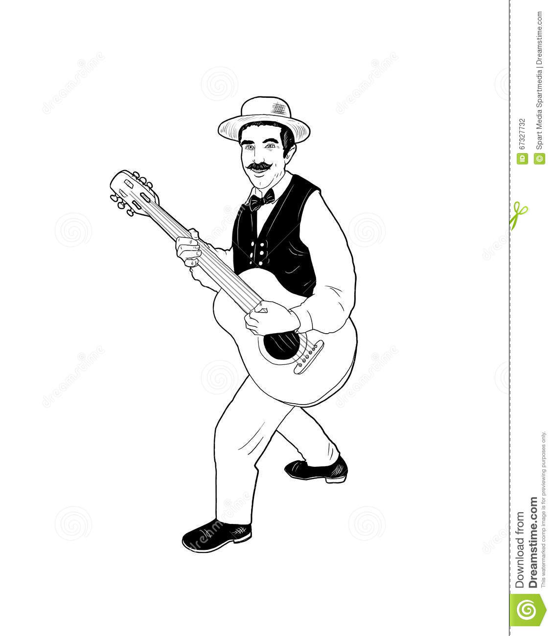 Guitarist plays music sketch stock illustration