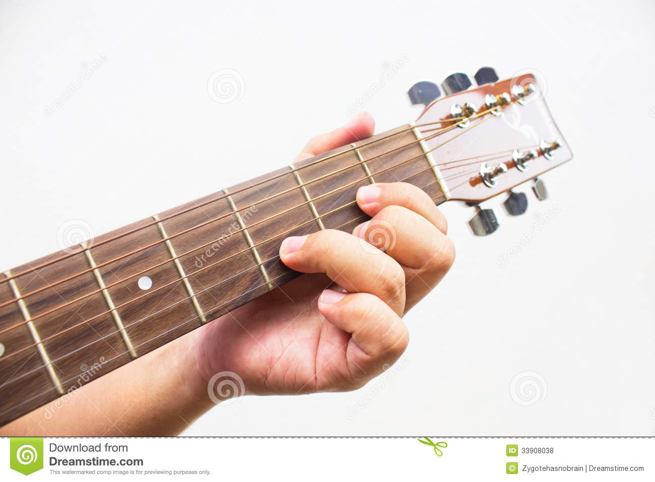 The Guitarist Show The D Chord On The Guitar Stock Photo Image Of