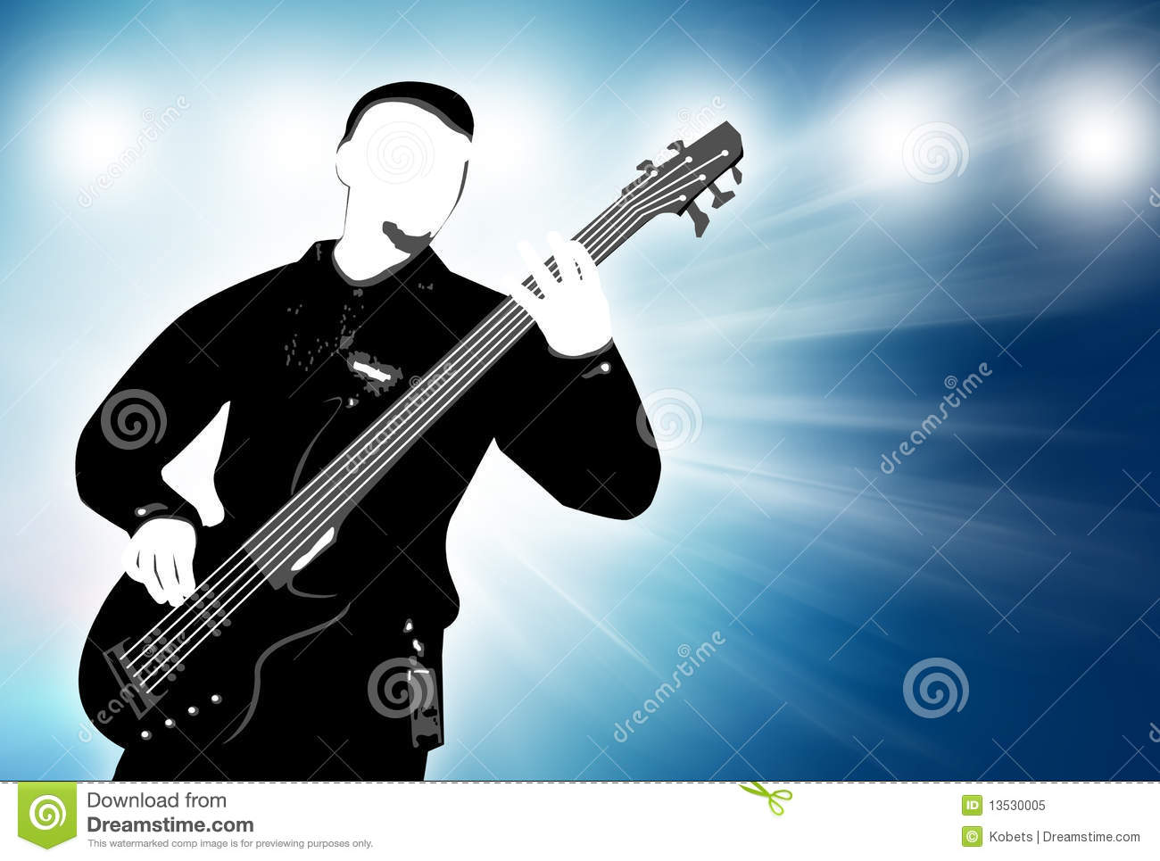 Guitarist Silhouette On Abstract Background Royalty Free ...