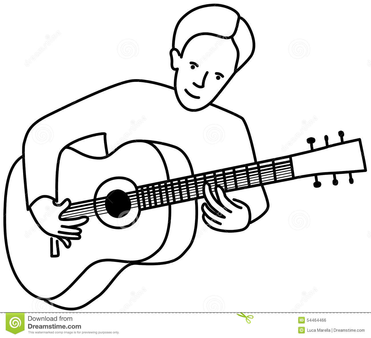 Contour Line Drawing Guitar : Guitarist stock vector image