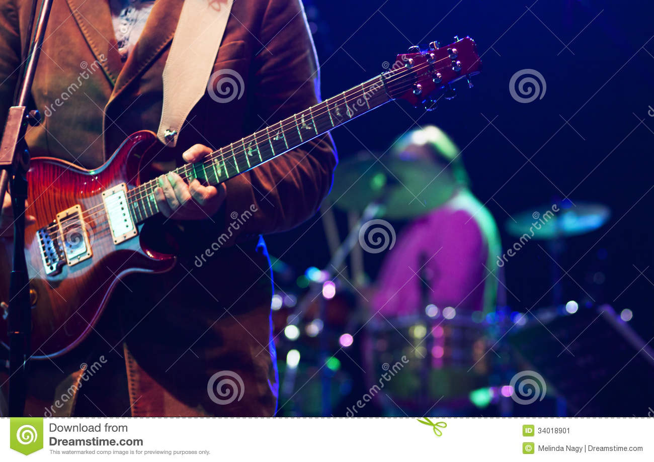Guitarist On Stage Stock Image - Image: 34018901