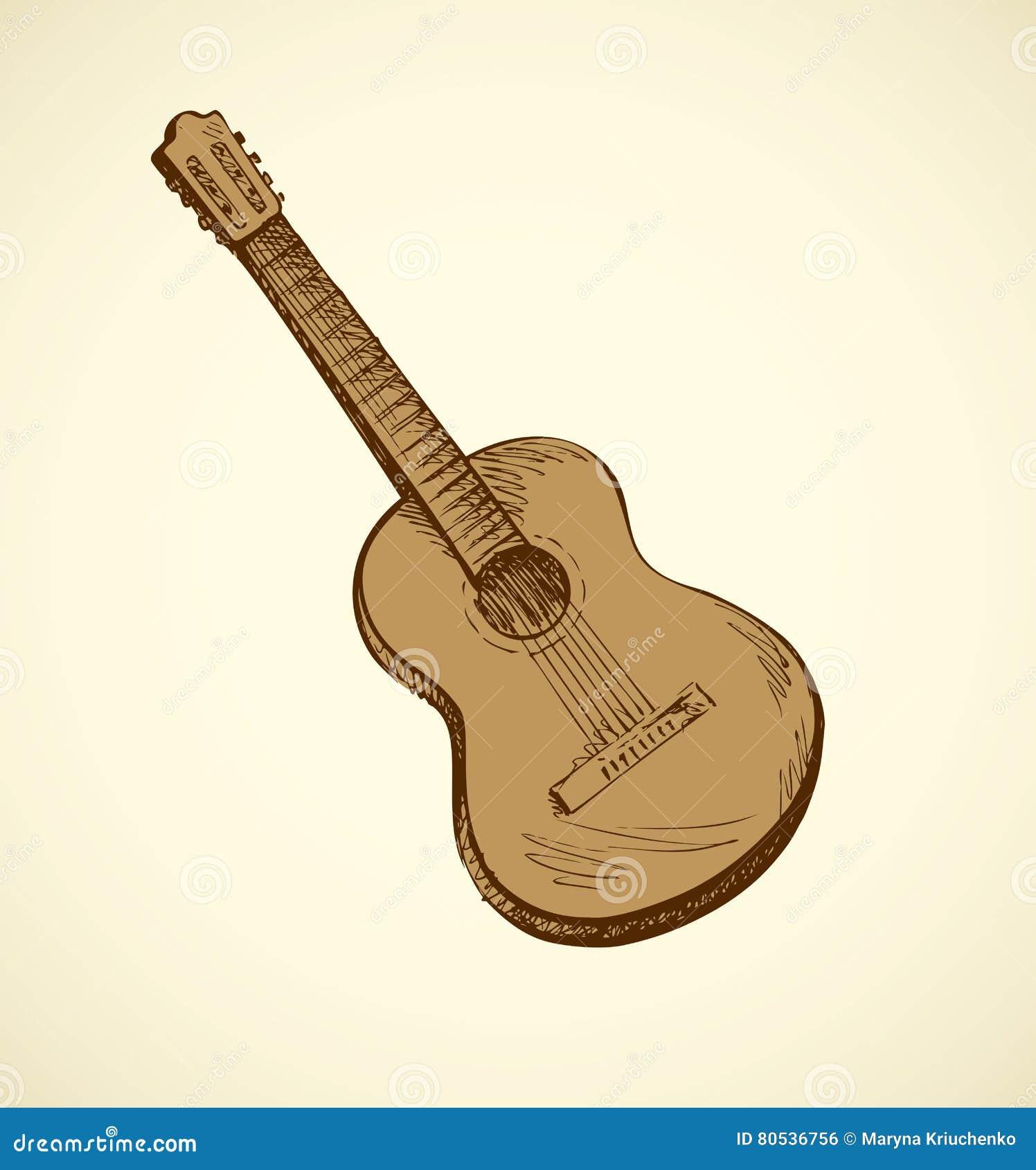 Guitarra Acústica Clásica Bosquejo Del Vector Ilustración del Vector ...