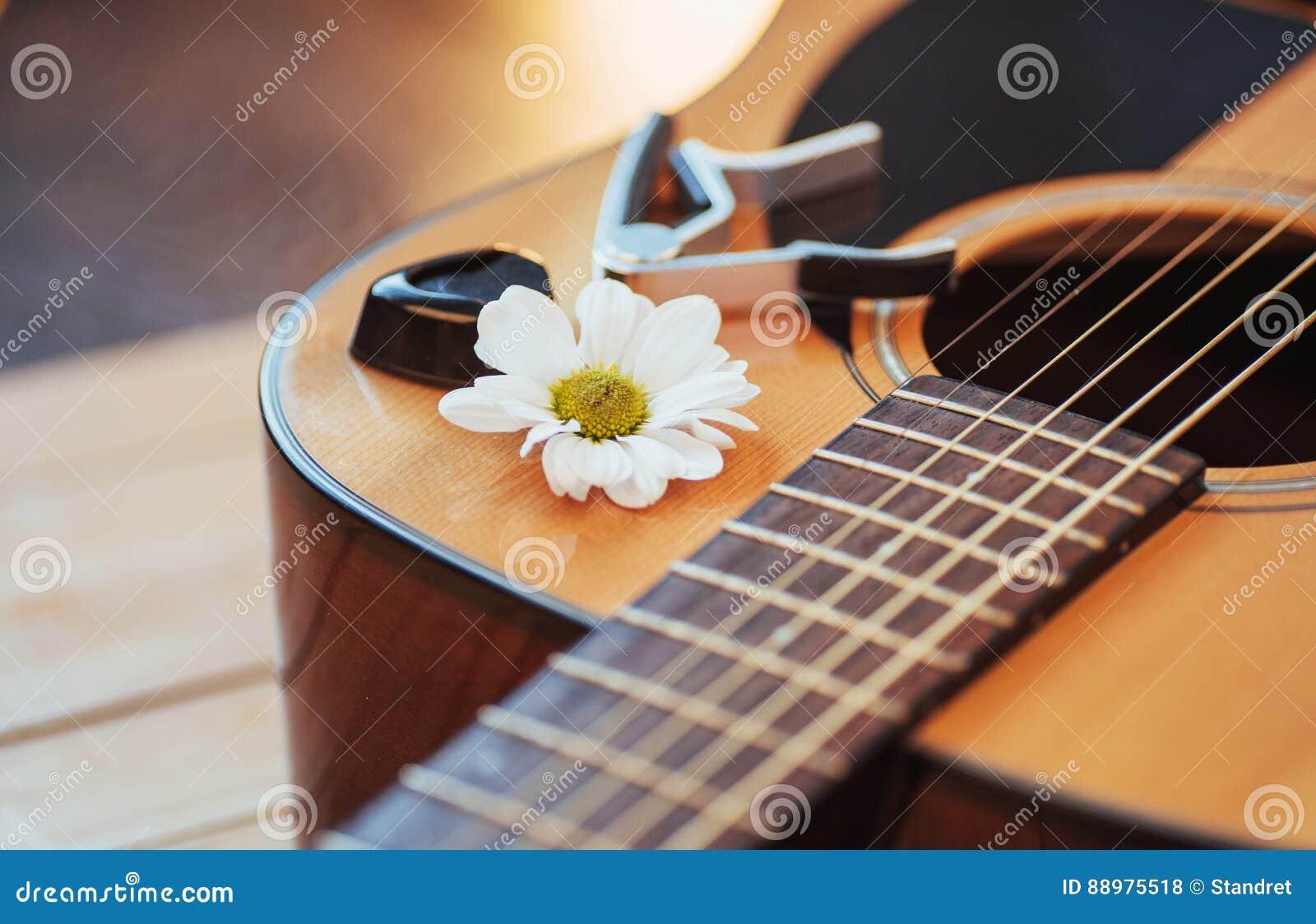 Guitarra clássica em uma luz - fundo marrom da fotografia