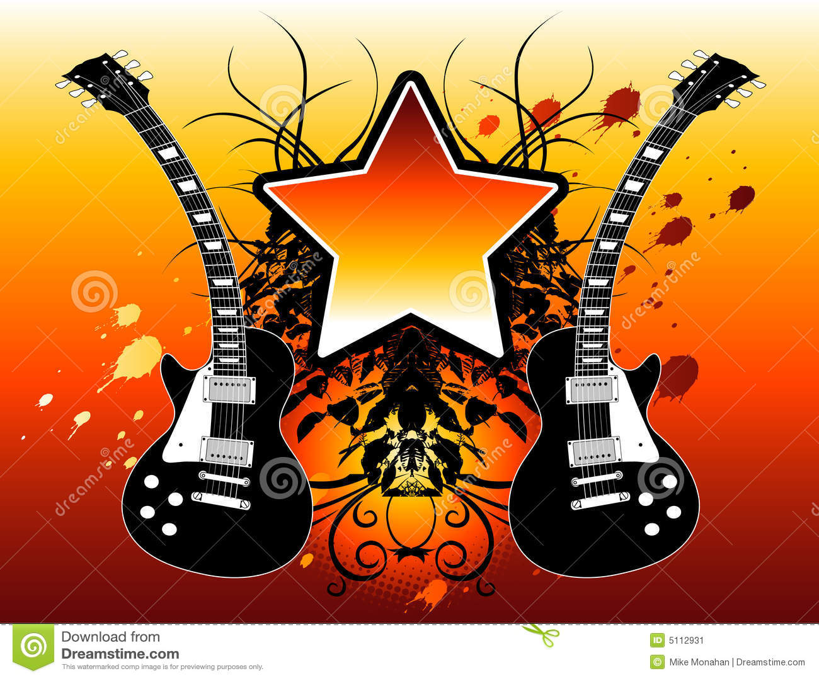 Guitarra da estrela do rock